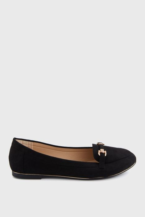 Black Goldline Covered Trim Loafers