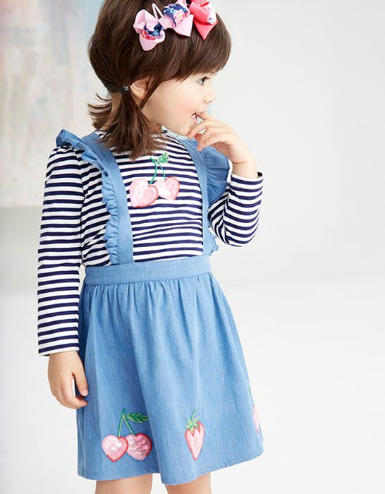 Baby Cherry Pinafore Dress with T-Shirt