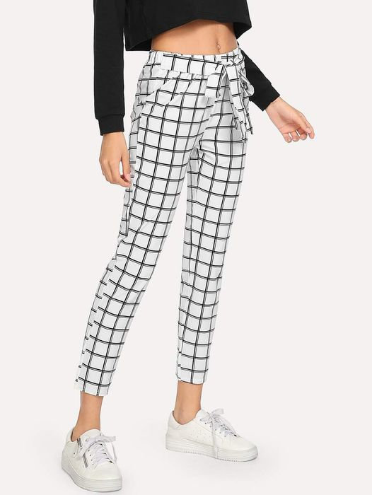 Cheap Knot Front Plaid Trousers at Shein Only £8.49!