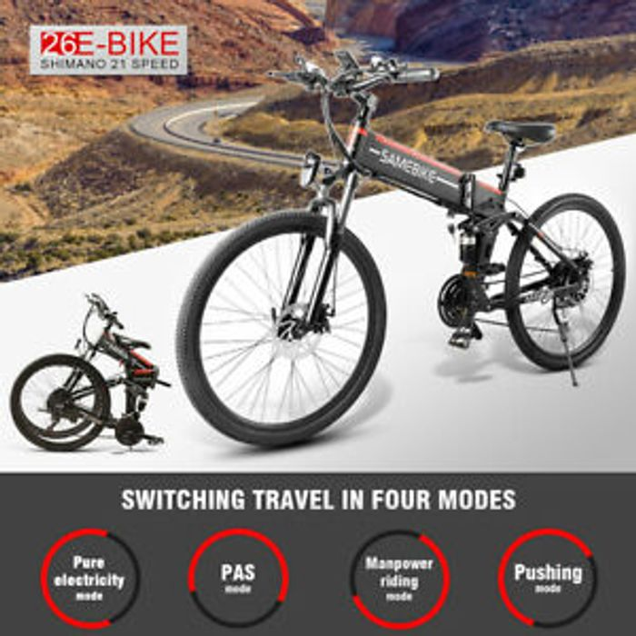 "Samebike 26"" Folding Electric Bike Power Assist 48V 500W 21Speed"