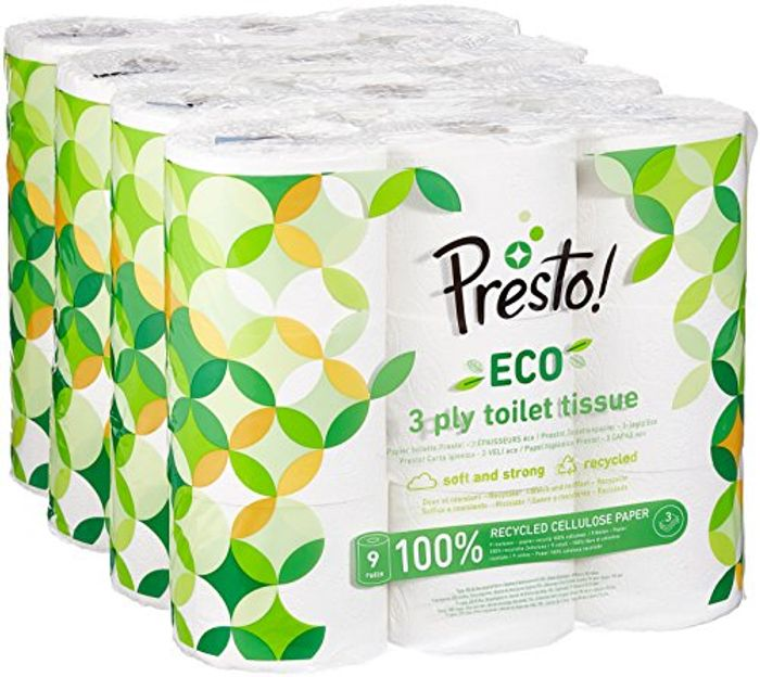 Presto! 3-Ply ECO Toilet Tissues, 36 Rolls (4 X 9 X 200 Sheets)