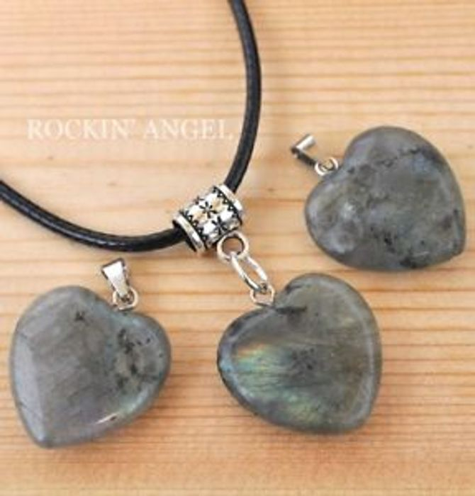 Cheap Raw Labradorite Heart Pendant Necklace *Healing Crystal Stone at Ebay
