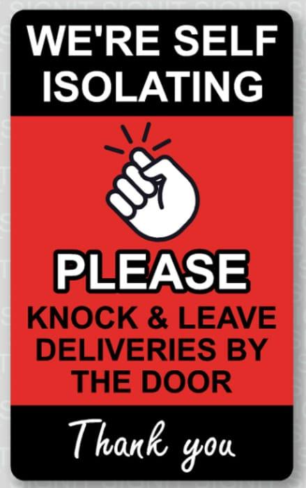 Self Isolating Coronavirus Door Sticker - £1.45 Delivered