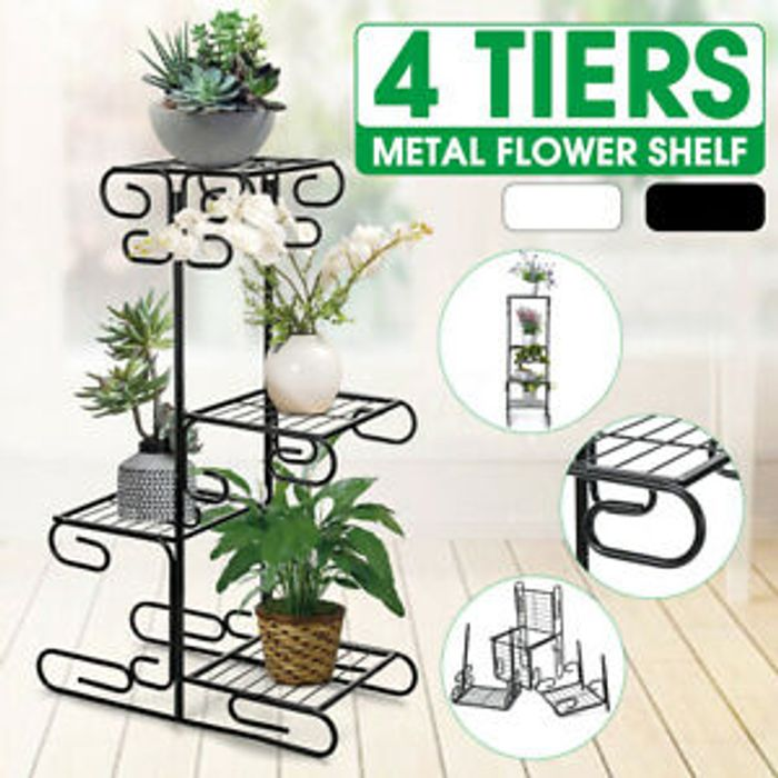 4 Tier Black Metal Plant Stand *Multi Buy Available