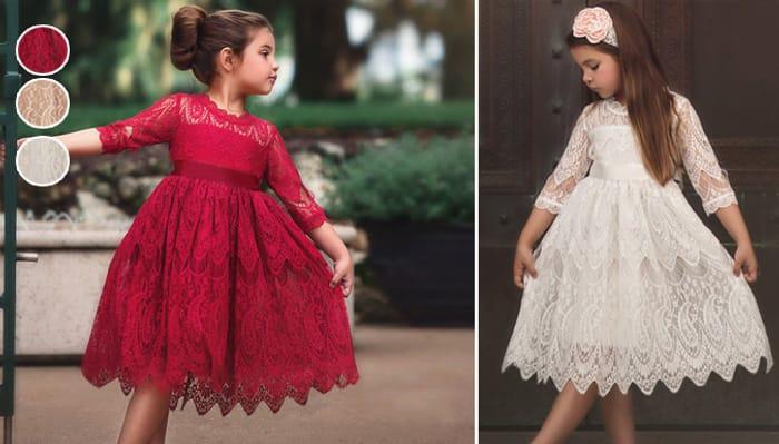 Girl's Flower Lace Dress - 3 Colours