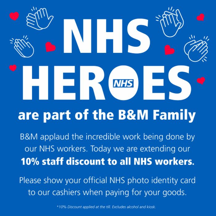 Special Offer! NHS & Blue Light Card Holders Get 10% Discount at B&M Retail