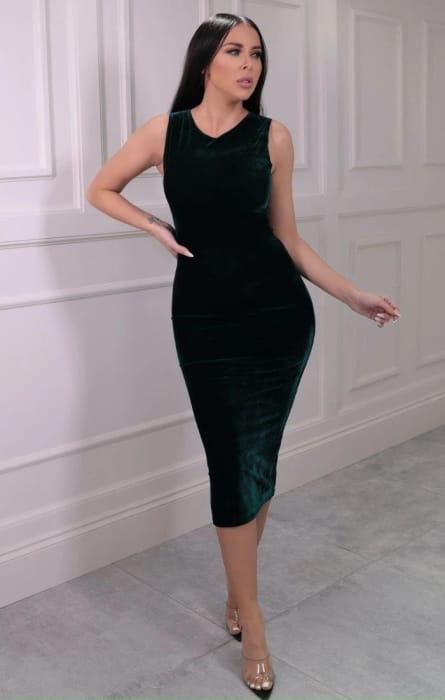 Emerald Green Velvet Sleeveless Midaxi Dress with 87% discount!