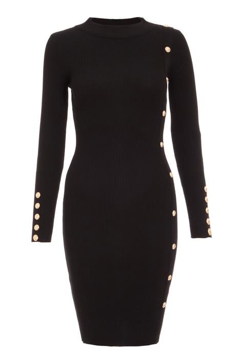 Black Button Detail Jumper Dress
