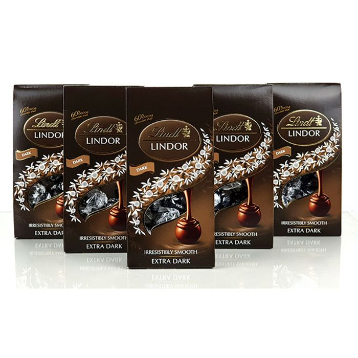 CHEAP! 5 X Boxes of Lindt Extra Dark 60% Cocoa Chocolate Truffles
