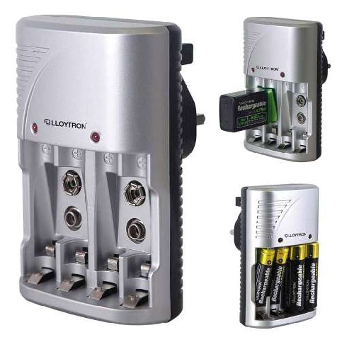 Lloytron Plug in 3 Way Battery Charger for AA, AAA and 9V Rechargeable Batteries