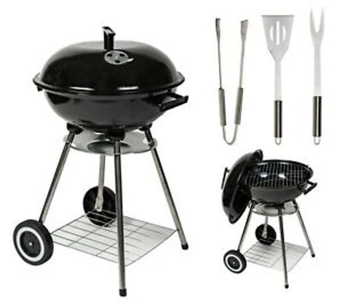 "17"" Charcoal Kettle BBQ + 3 Piece Tool Set £33.96 Delivered With Code"