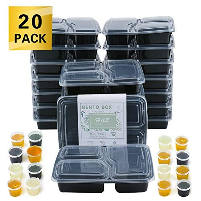 Meal Prep Containers with Lids Three Compartment Lunch Box BPA-Free Reusable