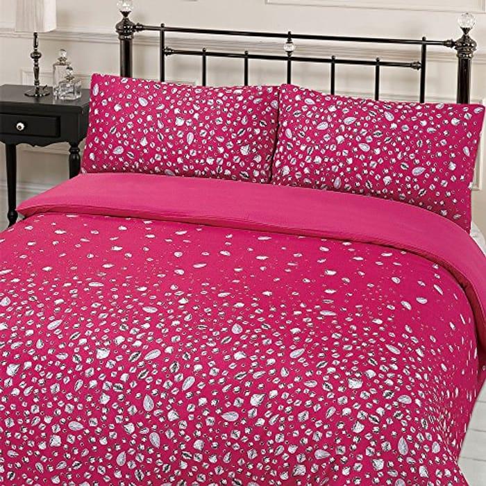 Glitz Gem Print Quilt Duvet Cover with Pillowcases Bedding Set Pink Single