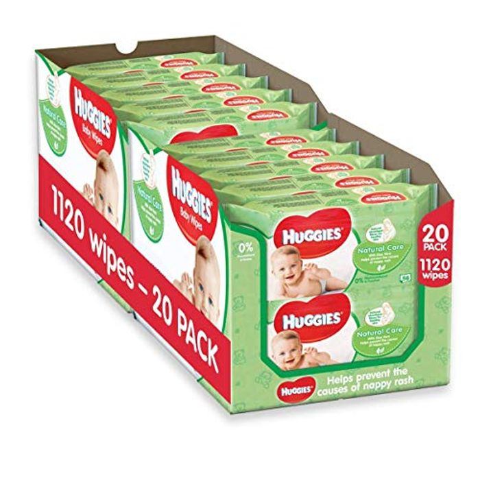 Huggies Natural Care Baby Wipes,2 x Pack of 10 x 56 (Total 1120 Wipes)