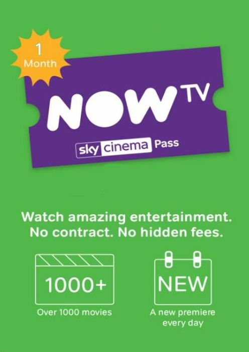 NOW TV - 1 Month Cinema Pass Only £3.99 + Instant Delivery