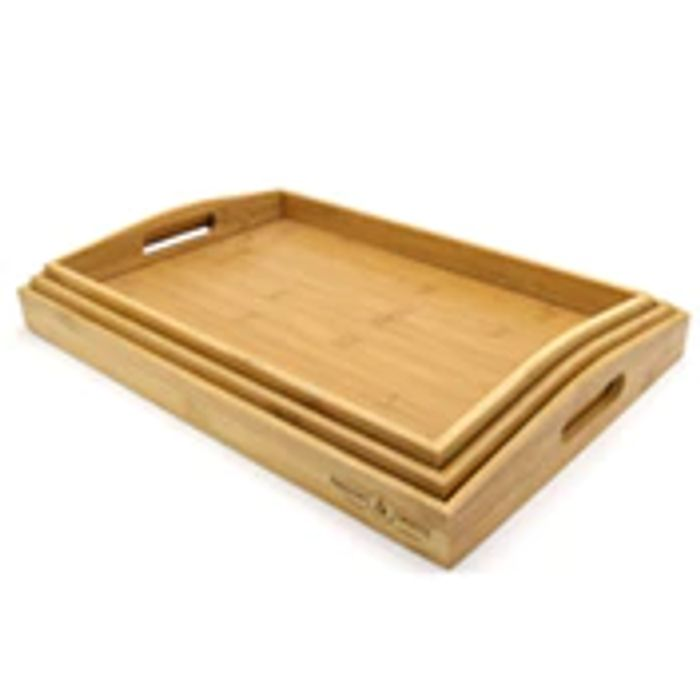 Set of 3 Bamboo Serving Trays   M&W Only £10.99