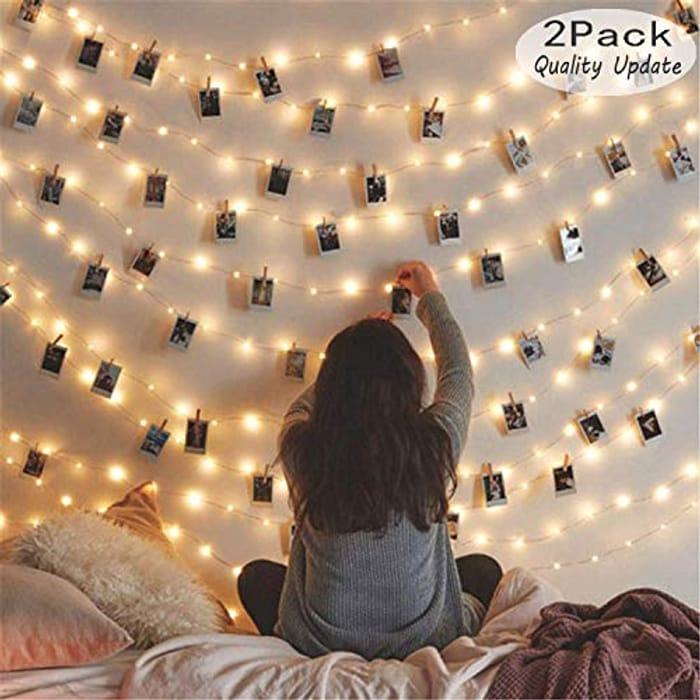 [2 Pack] Fairy String Lights, 120LED 12M/40Ft 8 Modes USB Plug