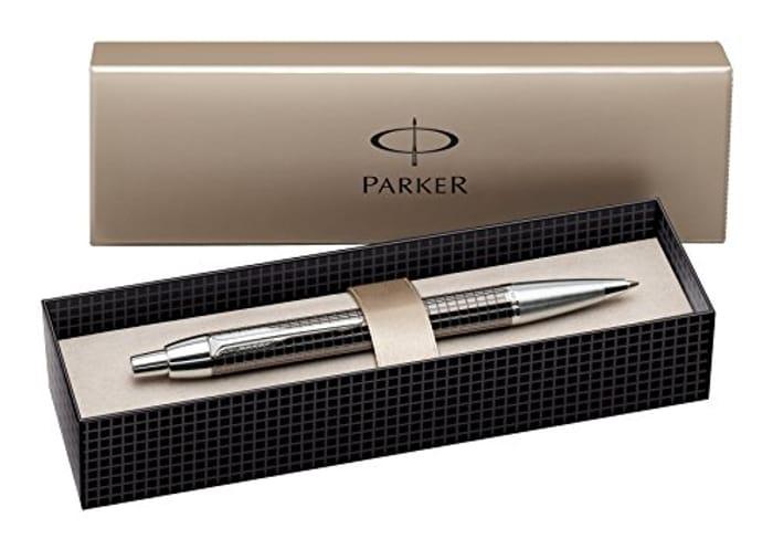 Parker IM Chrome Trim Premium Ballpoint Pen with Medium Nib, Gift Boxed