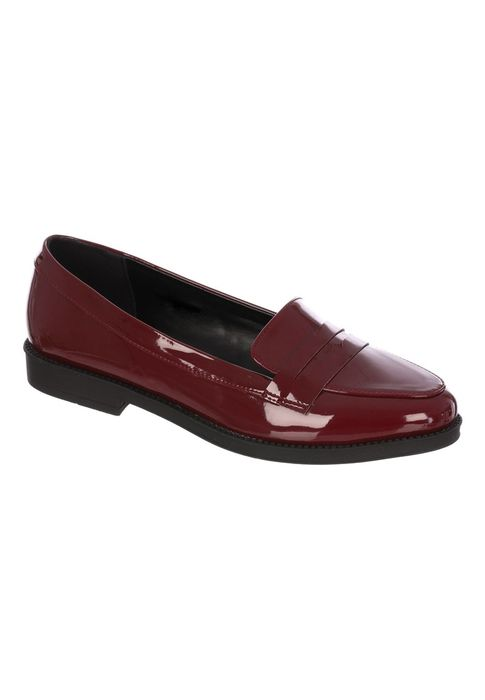 Womens Burgundy Patent Loafer Shoes