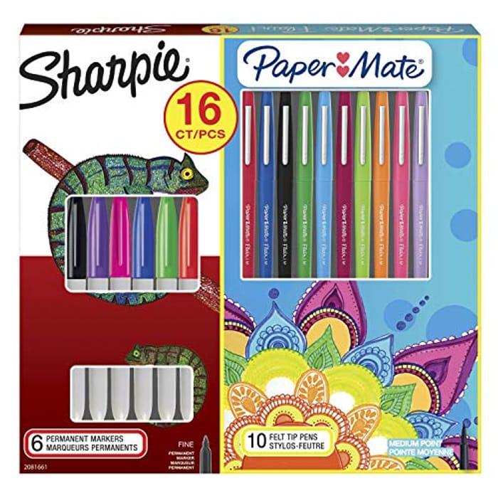 Sharpie Permanent Marker & Paper Mate Flair Felt Tip Pen Kit