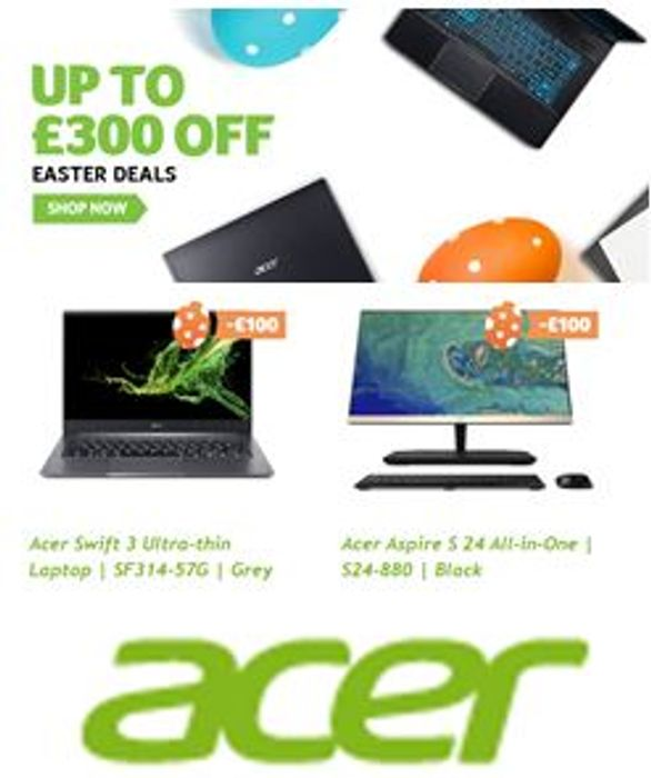 ACER Laptop Deals - £100 £200 £300 off with Promo Codes