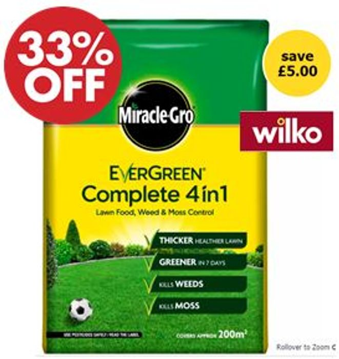 Evergreen Complete 4-in-1 Lawn Feed, Weed and Moss Killer 200m 7kg