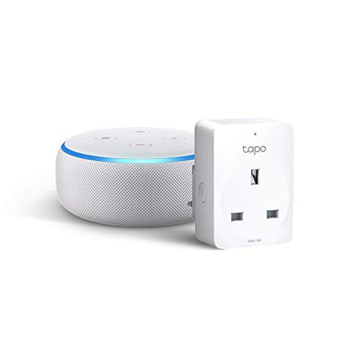 Echo Dot (3rd Gen), Sandstone Fabric + Tapo P100 Smart Plug, Works with Alexa