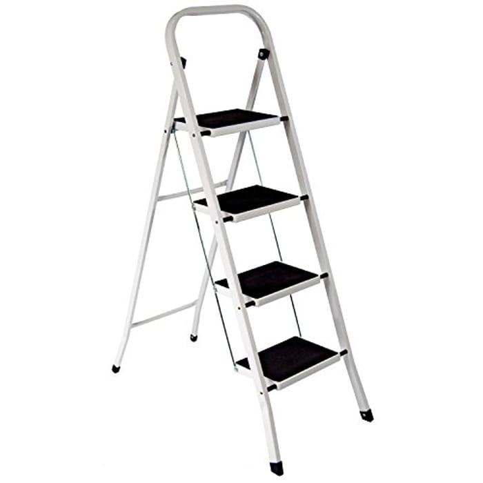 Highlands Superior 4 Step Ladder Non Slip Tread Safety Kitchen Heavy Duty