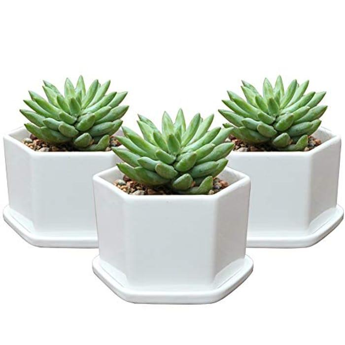 "Pack of 3 Glazed Ceramic Planters (4"") £9.23 @Amazon"