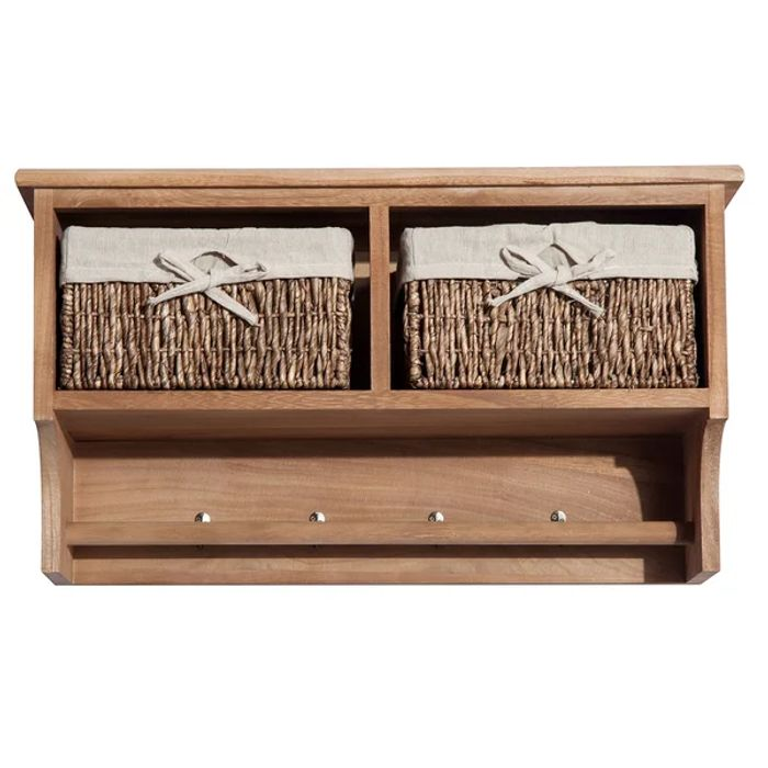 Wall Mounted Coat Hook Storage Unit W/3 Baskets-Brown
