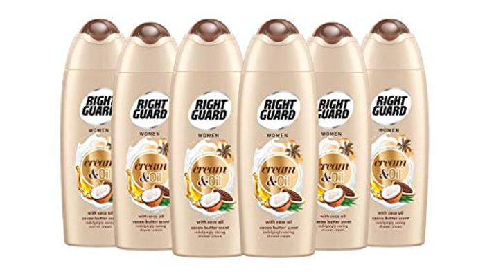 Right Guard Women Shower Cream and Oil with Cacao Butter Scent Shower Gel 6pk