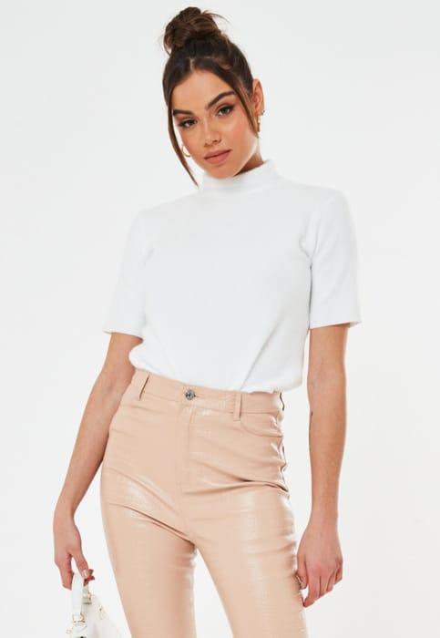 White Brushed High Neck T Shirt, Half Price!