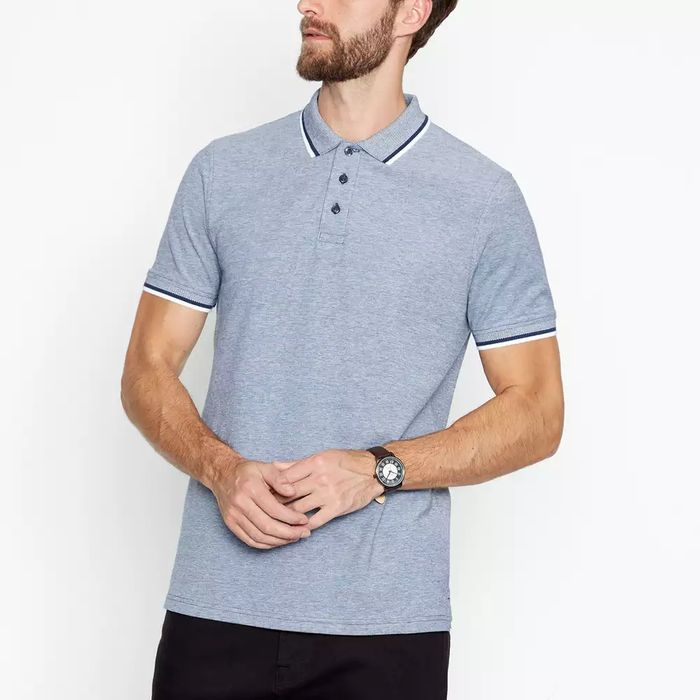 Maine New England-Navy Tipped Cotton Polo Shirt