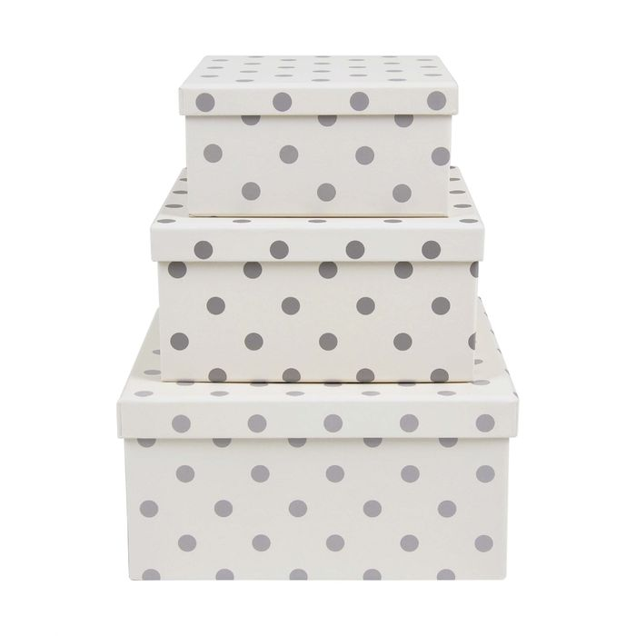 Spot Cardboard Storage Boxes - Set of 3