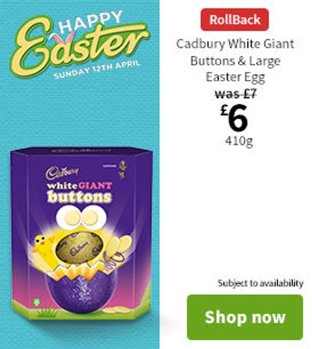 Cadbury White Giant Buttons & Large Easter Egg