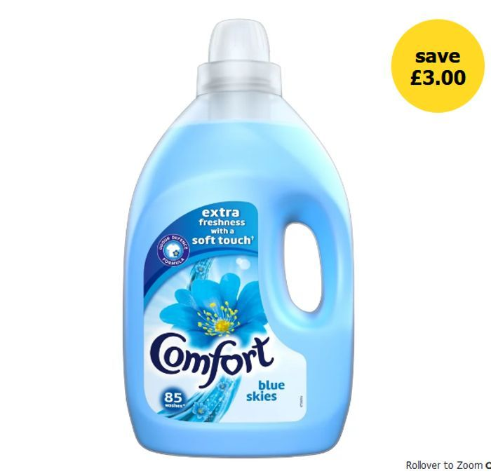 CHEAP! Comfort Blue Skies / Pure Fabric Conditioner 85 Washes 3L - HALF PRICE!
