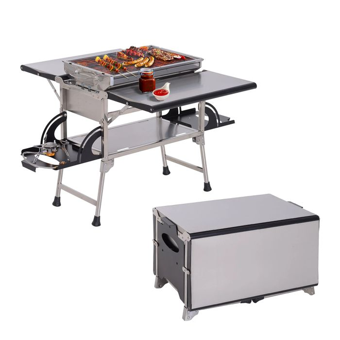 Outdoor Kitchen, Stainless Steel, Aluminum Alloy-Silver (FREE DELIVERY)