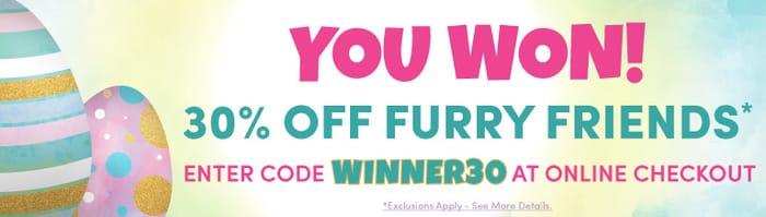 30% off Furry Friends
