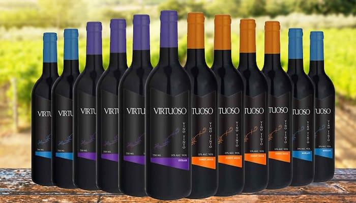 12 Bottles of Luxury Virtuoso Red Wine - Merlot, Sauvignon, Pinot Noir & Syrah
