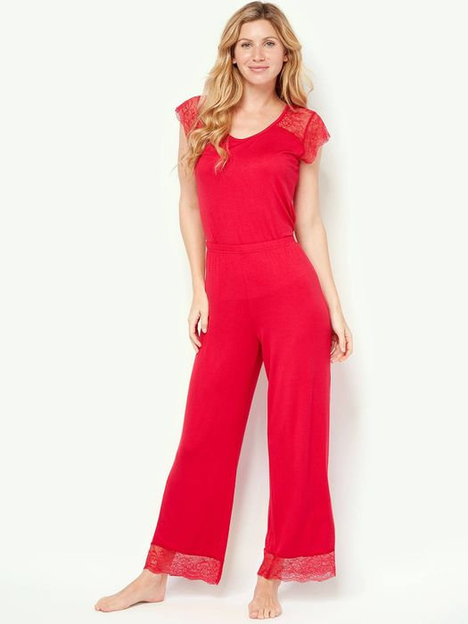 Cheap Womens Red Lace Trim Pyjama Trousers, reduced by £4!