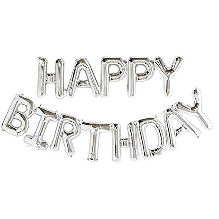 Self Inflating Happy Birthday Banner Balloon Bunting Silver