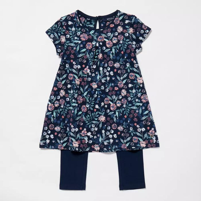 Maine New England - Girls' Navy Floral Print Tunic and Leggings Set