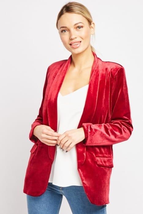 Shawl Collar Crush Velveteen Blazer - Only £5!