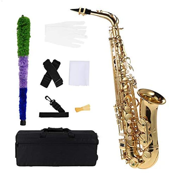 Ammoon bE Alto Saxophone Brass Lacquered Gold E Flat Sax 802