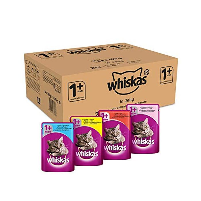 Whiskas Wet Food Pouches, Delicious&Tasty Poultry Selection in Jelly, 84 X 100 G