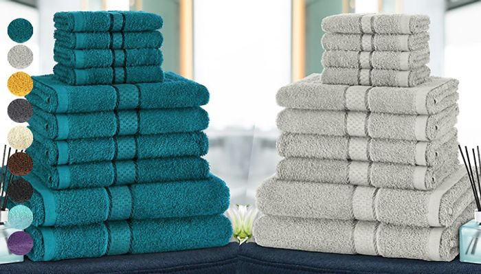 Special Offer! 6, 8 or 10-Piece Luxury Egyptian Cotton Towel Set - 10 Colours