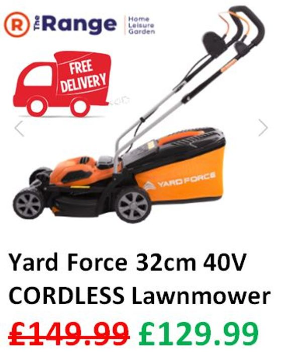 £20 OFF & FREE DELIVERY - Yard Force 40V CORDLESS Lawnmower - 32cm cut