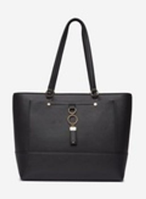 Black Pocket Front Shopper Bag