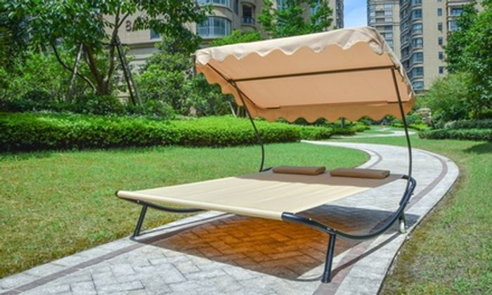 Double Outdoor Sun Bed with Canopy