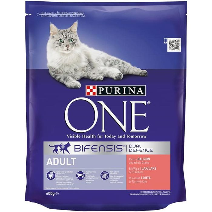 Purina One Bifensis Dual Defence Adult Food: Rich with Salmon (8 X 600g Bags)
